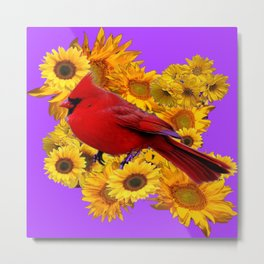 RED CARDINAL & YELLOW SUNFLOWERS PANTENE PURPLE Metal Print