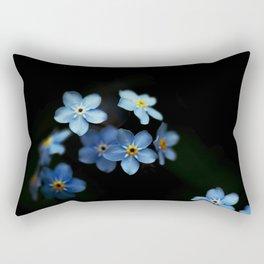 Forget Me Nots on Black Rectangular Pillow