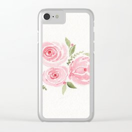 Christmas Rose-watercolor Clear iPhone Case
