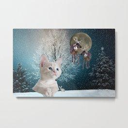 White Cat and Reindeers Metal Print