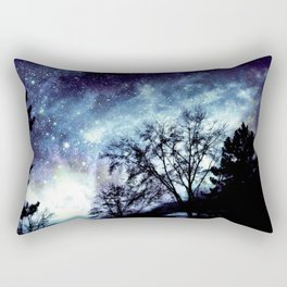 Black Trees Indigo Blue Space Rectangular Pillow