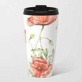Fragile Beauty - Watercolor Poppies Metal Travel Mug