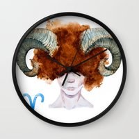 aries Wall Clocks featuring Aries by Aloke Design
