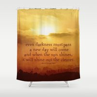 the lord of the rings Shower Curtains featuring LORD OF THE RINGS  by Brittney Weidemann