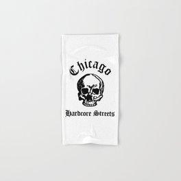 Chicago Illinois Hardcore Streets Urban Streetwear White Skull, Super Sharp PNG Hand & Bath Towel