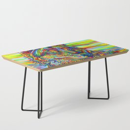 Colorful Psychedelic Rainbow Wolf Coffee Table