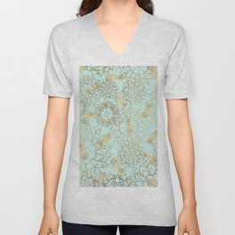 Modern teal faux gold pineapple floral illustration Unisex V-Neck
