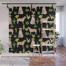Labrador Retriever yellow lab cute cactus southwest pet portrait dog breed desert Wall Mural