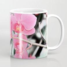 Lovely pink orchid flower color pencil sketch. floral photo art. Mug