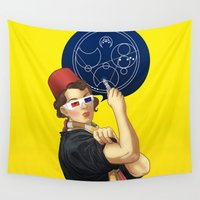 feminism Wall Tapestries featuring Whovian feminism by ElinJ