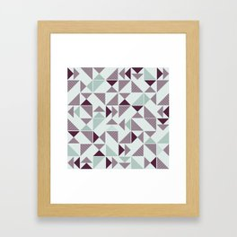 Burgundy Green Abstract Striped Triangles Framed Art Print