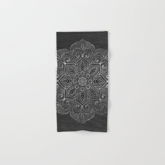 Wood Mandala - Silver Hand & Bath Towel
