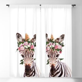 Baby Zebra With Flower Crown, Baby Animals Art Print By Synplus Blackout Curtain