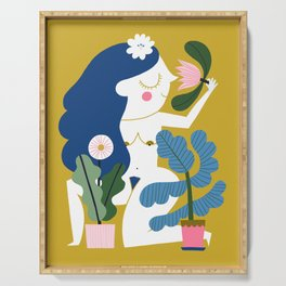 Blue Plant Lady Serving Tray