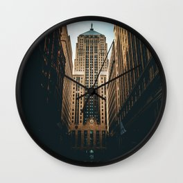 LOW ANGLE PHOTOGRAPHY OF ROAD STRAIGHT TO HIGH-RISE BUILDING UNDER WHITE AND BLUE CLOUDY SKIES Wall Clock