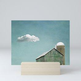 Green Barn and a Cloud Mini Art Print