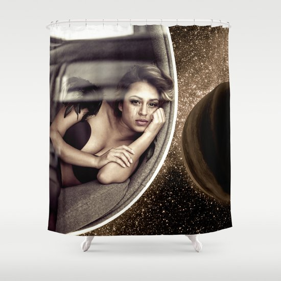 Sad walk in Space Shower Curtain