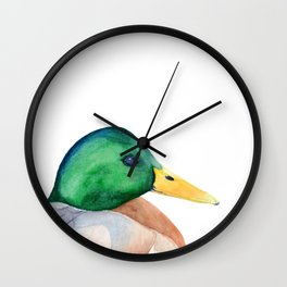 Mallard, Mallard Duck, Duck, Green Head Duck, Watercolor painting by Suisai Genki Wall Clock