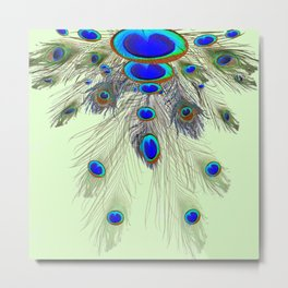 DECORATIVE BLUE GREEN PEACOCK FEATHER & JEWELS #3 PATTERN Metal Print
