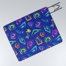 Surf Spiral Shapes in Neon Periwinkle Picnic Blanket