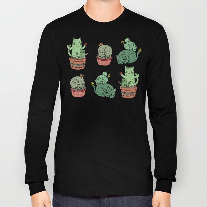 Cacti Cat pattern Long Sleeve T-shirt