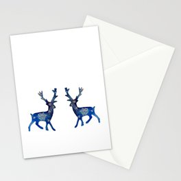 Winter Deer Snowflakes Stationery Cards