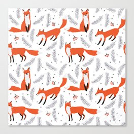 Red foxes and berries in the winter forest Canvas Print