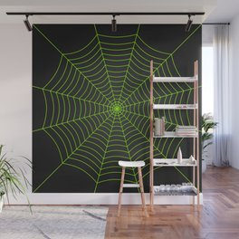 Neon green spider web Wall Mural