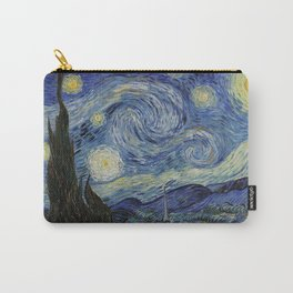 The Starry Night by Vincent van Gogh 1889 // Abstract Brush Stroke Detail Mountains Stars City Scene Carry-All Pouch