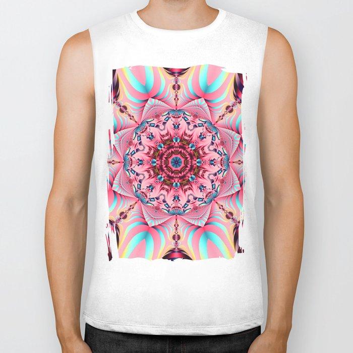 Blooming in Pink, floral kaleidoscope design Biker Tank