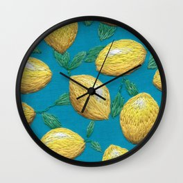 Hand embroidered lemons pattern on turquoise Wall Clock