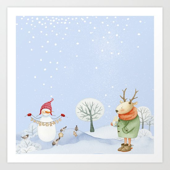 Merry christmas- Snowman Deer and birds are having Winter fun Art Print