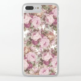 Vintage blush pink burgundy roses floral painting Clear iPhone Case