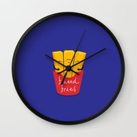 fries Wall Clocks featuring Friend Fries by Wai Theng