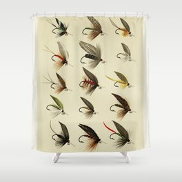 Vintage Fly Fishing Print - Trout Flies Shower Curtain