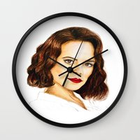 agent carter Wall Clocks featuring Agent Carter by Olivia Nicholls-Bates