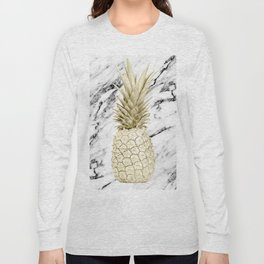 Gold Pineapple on Marble Long Sleeve T-shirt