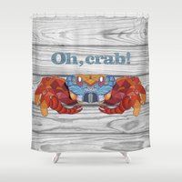 crab Shower Curtains featuring Oh, Crab! by ArtLovePassion