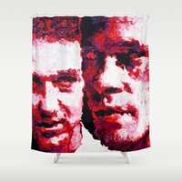 fight Shower Curtains featuring FIGHT! by Christopher Brewer Art