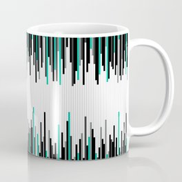 Frequency Line, Vertical Staggered Black, Gray & Teal Line Digital Illustration Coffee Mug