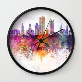 Pittsburgh V2 skyline in watercolor background Wall Clock