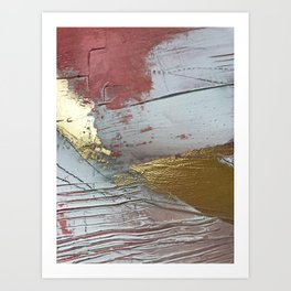 Darling [2]: a minimal, abstract mixed-media piece in pink, white, and gold by Alyssa Hamilton Art Art Print
