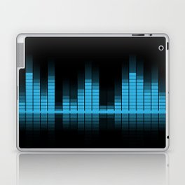 Cool Blue Graphic Equalizer Music on black Laptop & iPad Skin