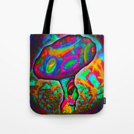 Shroomery #1 Psychedelic Colorful Mushroom Trippy Character Design Tote Bag