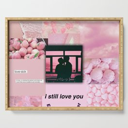 Pink love aeshethic collage Serving Tray