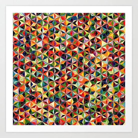 Star Cubes Geometric Art Print. Art Print