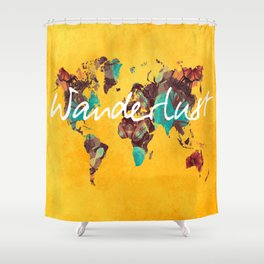 world map 123 wanderlust #wanderlust #map Shower Curtain