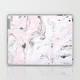 White& Pink Marble Swirls Laptop & iPad Skin