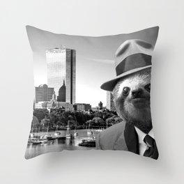 Sloth in Boston Throw Pillow