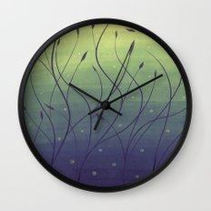 Purple Algae Plants In Green Water Wall Clock